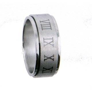 316L Stainless Steel Ring   Spinner   Roman Numerals (Sizes 7 13)stone