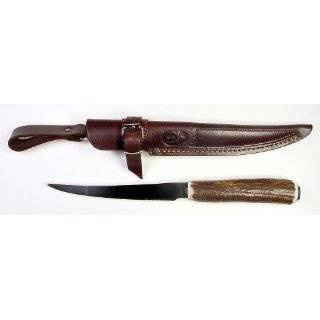 RUKO 8 Inch Blade Filet Knife with Genuine Deer Horn