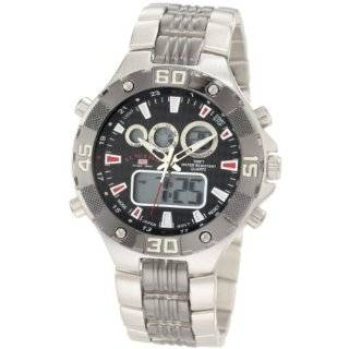 Polo Assn. Mens USC80002 Rimmed Bezel Silver Dial Link Watch Watches