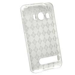 Clear White Argyle TPU Rubber Case for HTC EVO 4G
