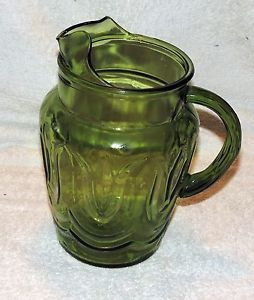 Anchor Hocking Colonial Tulip Pattern Avocado Green Glass Beverage Pitcher