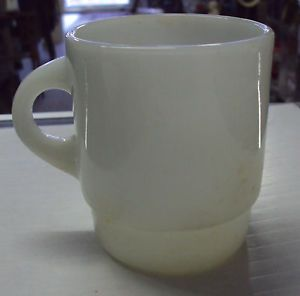 Vintage Anchor Hocking Fire King Milk Glass Mug Stackable C Handle Coffee