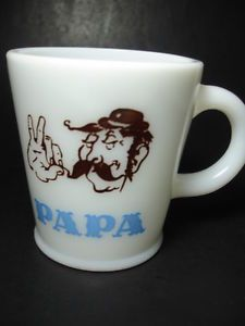 Hazel Atlas Vintage Papa Dad Milk Glass Mug Cup Anchor Hocking Fire King