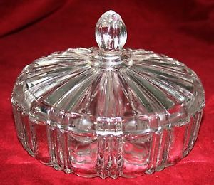Vintage Collectible Anchor Hocking Fire King Crystal Glassware Candy Dish w Lid