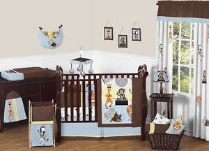 Blue Brown Animal Print Jungle Monkey Giraffe Elephant Baby Boy Crib Bedding Set