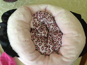 Princess Doggie Bed Pink Black Leopard Print for Miniature Small Dog Clothes