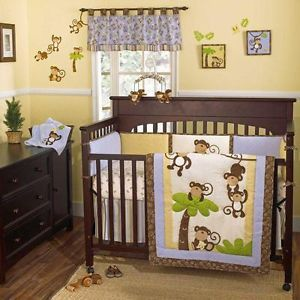 Blue Brown Animal Print Infant Boy 4p Nursery Monkey Discount Crib Bedding Set