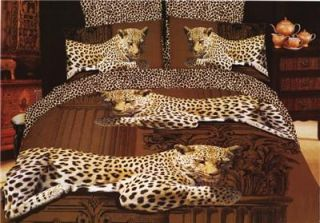 Brown Leopard Print 100 Cotton Bedding Set Bed Set Duvet Quilt King Size Bedset