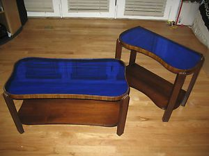 Sale Antique Art Deco Cobalt Blue Mirror Glass Top Coffee End Tables 1930s
