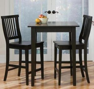 Arts Crafts Counter Height 3 PC Bistro Dining Pub Table Set in Black Finish