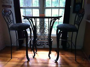Three Piece Indoor Pub Table Chairs Set w Wine Rack Ashley Furniture Fruitwood