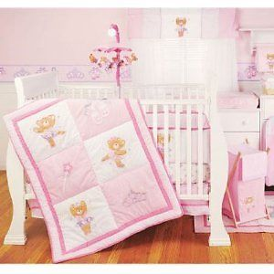 Li'L Kids Ballerina Bear Baby Girl Crib Bedding 4 Piece Set Pink