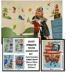 Giant Nursery Childrens Kids Boys Girls Bedroom Pirate Wall Furniture Stickers
