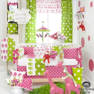 Baby Girl Pink Green Elephant Giraffe Dot Quilt Crib Nursery Newborn Bedding Set
