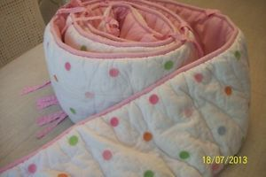Pottery Barn Kids Pink Green Blue Polka Dots Bumper Pads Baby Bedding