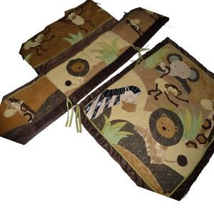 Baby Boy Crib Bedding Set Safari Boys Brown Beige Lion Giraff Monkey Elephant