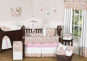 Pink Orange Turquoise White Gray Retro Baby Girl Cheap Discount Crib Bedding Set