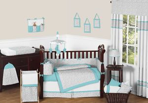 JoJo Designs Turquoise Grey Cheetah Animal Print Baby Boy Girl Crib Bedding Set
