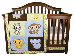 Monkey Animal Zoo Baby Girl Baby Boy 10 PC Nursery Crib Bedding Set