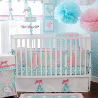 My Baby Sam 5 Piece Crib Bedding Set Pixi Baby Aqua Includes Mobile New