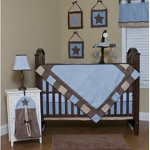 Baby Boy Blue Brown 10 Piece Crib Bedding Set BNIP