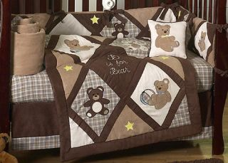 Designer Unique Discount Luxury Teddy Bear Neutral 9pc Baby Boy Crib Bedding Set