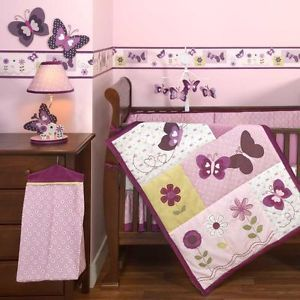 Purple and Pink Butterfly 4pc Baby Girl Nursery Crib Patchwork Cheap Bedding Set