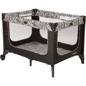 Baby Play Yard Zebra Print Black White Playard Play Pen Boy Girl Infant Toddler