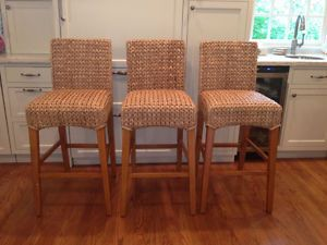 Pottery Barn Bar Stool Chairs Set of 3 Stools New Seagrass Collection