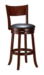 "29"" Contemporary Casual Wood Swivel Counter Bar Stool Mahogany Brown Color"