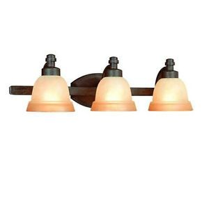 Hampton Bay 396813 Rock Creek 3 Light Iron Oxide Bathroom Vanity Light Fixture