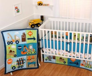 Sumersault Dig It 5pc Baby Boy Crib Bedding Set Equipment Green Navy Grey New