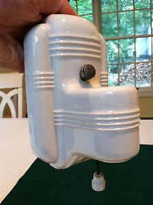Vintage 1930's Art Deco Porcelain Electric Bathroom Light Wall Sconce Fixture