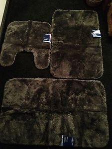 Bathroom Rug 3 Piece Set Gray