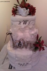 Personalized Birthday Bridal Gift Bath Towel Cakes