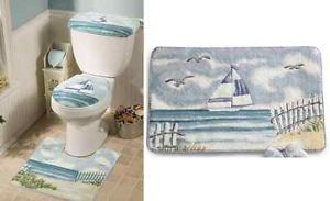 4 Pieces Lighthouse Decor Bath Mat Rug Set Nautical Blue Seaside Beach Boat