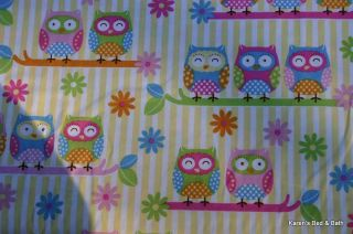 Pastel Owls Birds Yellow White Stripe Handcrafted Curtain Valance New