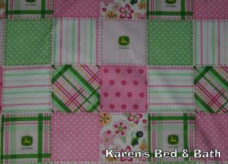 John Deere Pink Green Floral Madras Plaid Patch Girls Curtain Valance New