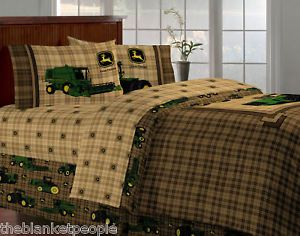 Brand New John Deere Bedding Traditional Tractor Plaid Twin Size 5 Pcs Bed Set