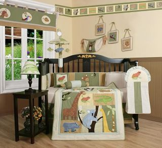 New Jungle Theme 13 Piece Baby Boy Crib Bed Set