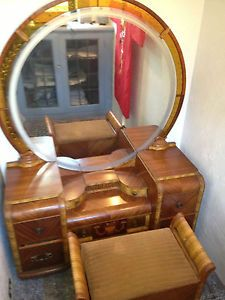 Antique Vintage Art Deco Waterfall Bedroom Set Buffet