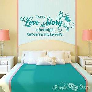 Love Story Vinyl Art Butterflies Home Wall Bedroom Room Quote Decal Sticker