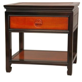Oriental Furniture Rosewood Bedside Table Two Tone