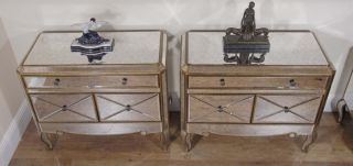 Pair Funky Art Deco Mirrored Bedside Chest Drawers Tables Nightstands