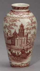 Red White Toile Transferware Flower Bud Vase Victorian Style