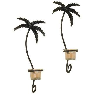 New Black 2pc Pair Palm Trees Wrought Iron Wall Sconce Tealight Votive Candle