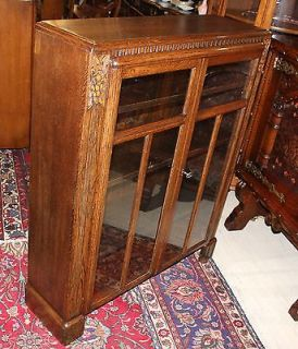 Beautiful English Antique Oak Art Deco Bookcase Cirio Cabinet with Glass Door