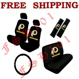 New 11pc Set NFL Washington Redskins Seat Covers Steering Wheel Cover More
