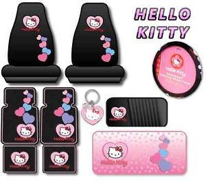 Hello Kitty 10pc Car Interior Set Seat Covers Floor Mats Pink Hearts