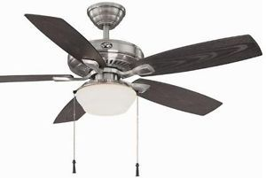 Hampton Bay Gazebo 52 inch Indoor Outdoor Ceiling Fan with Light Kit Nickel